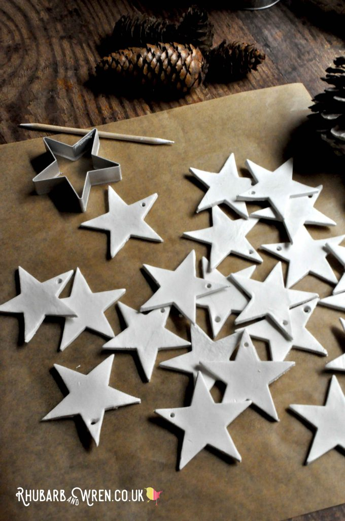 Home-made clay star ornaments